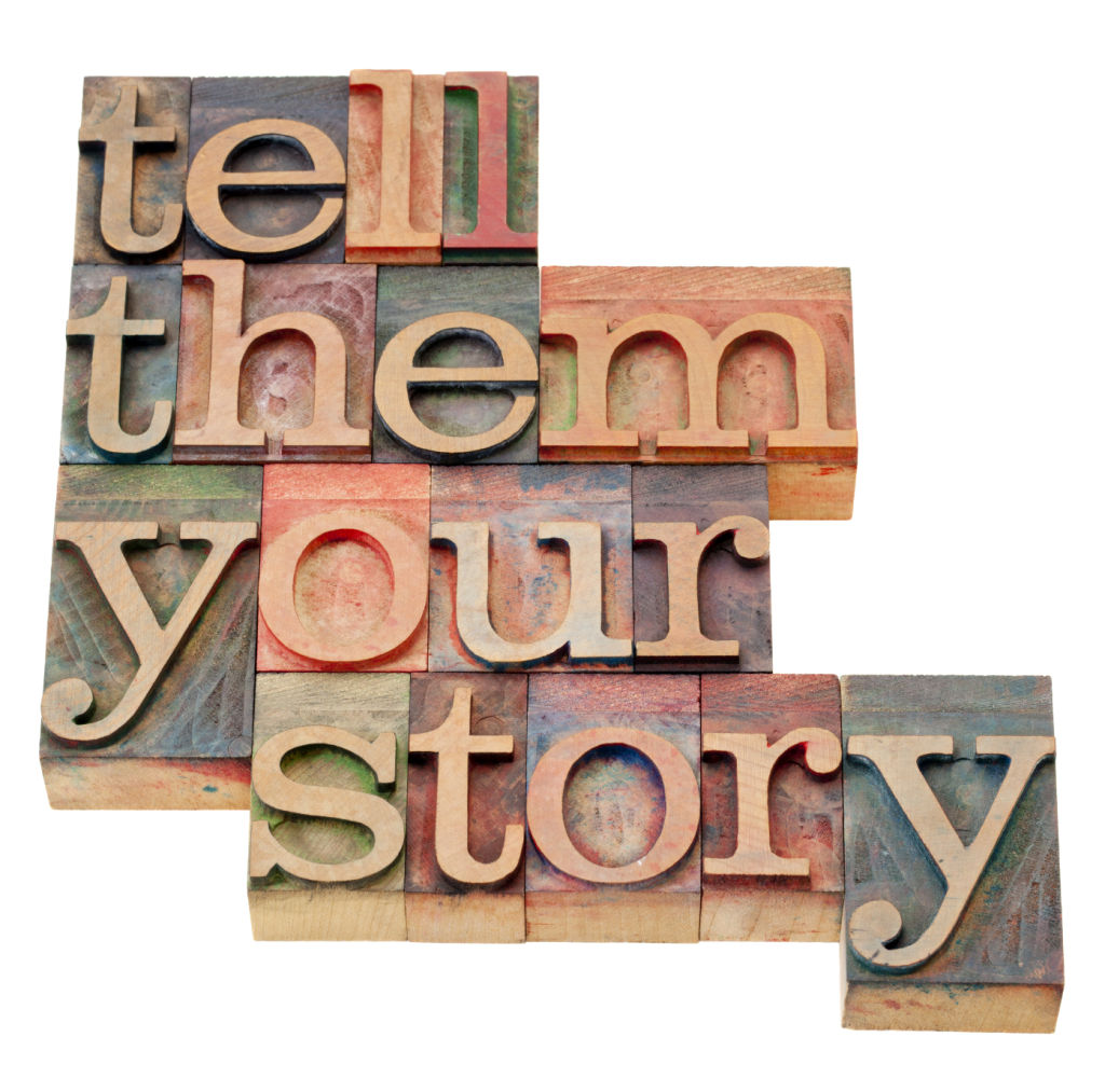 tell them your story - advice in isolated vintage wood letterpress printing blocks